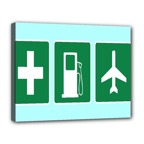 Traffic Signs Hospitals, Airplanes, Petrol Stations Canvas 14  x 11