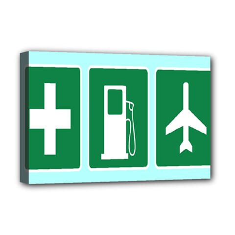 Traffic Signs Hospitals, Airplanes, Petrol Stations Deluxe Canvas 18  x 12