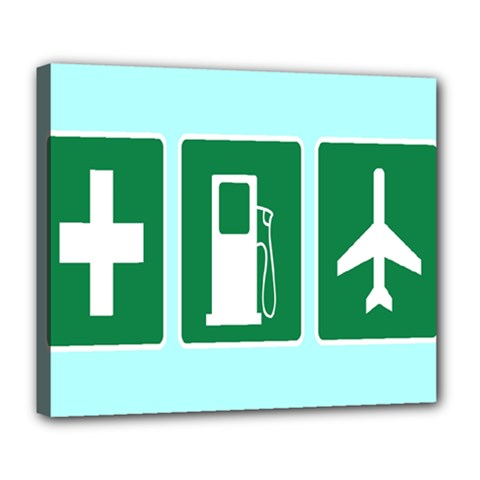 Traffic Signs Hospitals, Airplanes, Petrol Stations Deluxe Canvas 24  x 20