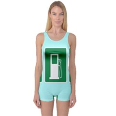 Traffic Signs Hospitals, Airplanes, Petrol Stations One Piece Boyleg Swimsuit