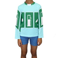 Traffic Signs Hospitals, Airplanes, Petrol Stations Kids  Long Sleeve Swimwear