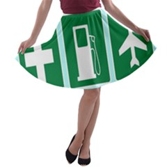Traffic Signs Hospitals, Airplanes, Petrol Stations A-line Skater Skirt
