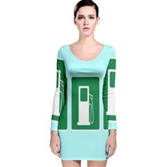 Traffic Signs Hospitals, Airplanes, Petrol Stations Long Sleeve Velvet Bodycon Dress