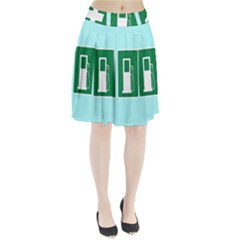 Traffic Signs Hospitals, Airplanes, Petrol Stations Pleated Skirt