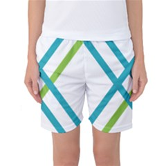 Symbol X Blue Green Sign Women s Basketball Shorts