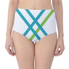 Symbol X Blue Green Sign High-Waist Bikini Bottoms