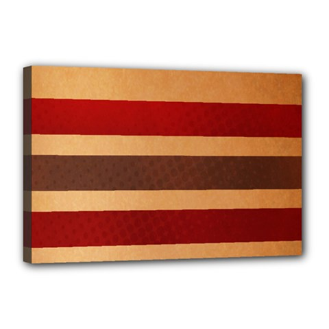 Vintage Striped Polka Dot Red Brown Canvas 18  x 12