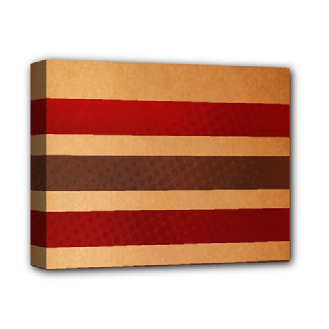 Vintage Striped Polka Dot Red Brown Deluxe Canvas 14  x 11