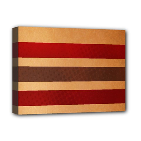 Vintage Striped Polka Dot Red Brown Deluxe Canvas 16  x 12