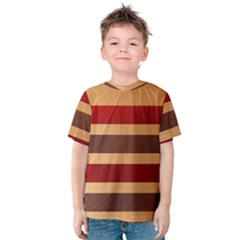 Vintage Striped Polka Dot Red Brown Kids  Cotton Tee