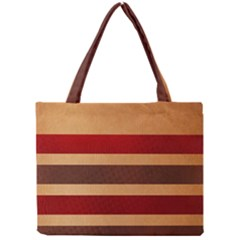 Vintage Striped Polka Dot Red Brown Mini Tote Bag