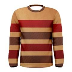 Vintage Striped Polka Dot Red Brown Men s Long Sleeve Tee