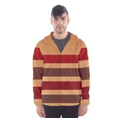 Vintage Striped Polka Dot Red Brown Hooded Wind Breaker (Men)