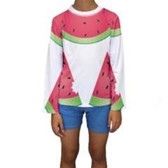 Watermelon Slice Red Green Fruite Kids  Long Sleeve Swimwear