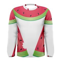 Watermelon Slice Red Green Fruite Men s Long Sleeve Tee