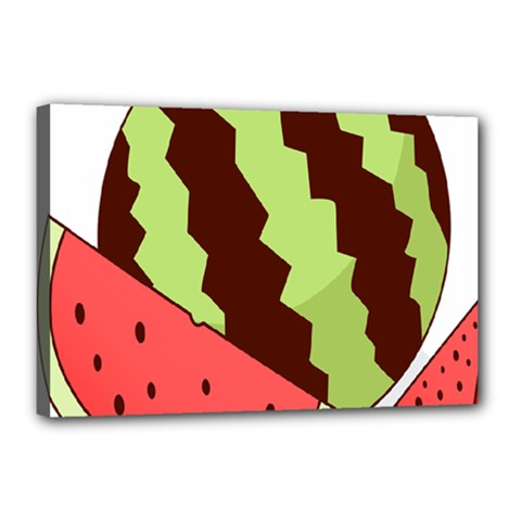 Watermelon Slice Red Green Fruite Circle Canvas 18  x 12