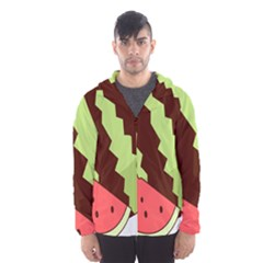 Watermelon Slice Red Green Fruite Circle Hooded Wind Breaker (Men)