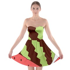 Watermelon Slice Red Green Fruite Circle Strapless Bra Top Dress