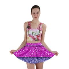 Violet Girly Glitter Pink Blue Mini Skirt