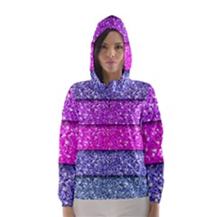Violet Girly Glitter Pink Blue Hooded Wind Breaker (Women)