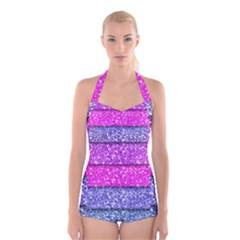 Violet Girly Glitter Pink Blue Boyleg Halter Swimsuit