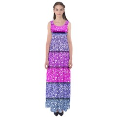 Violet Girly Glitter Pink Blue Empire Waist Maxi Dress