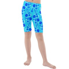 Vertical Floral Rose Flower Blue Kids  Mid Length Swim Shorts
