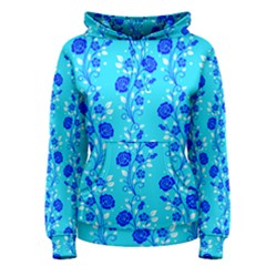 Vertical Floral Rose Flower Blue Women s Pullover Hoodie