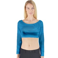 Whirlpool Hole Wave Blue Waves Sea Long Sleeve Crop Top