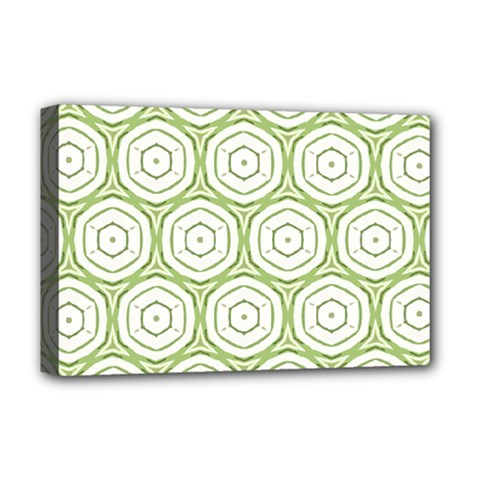 Wood Star Green Circle Deluxe Canvas 18  x 12