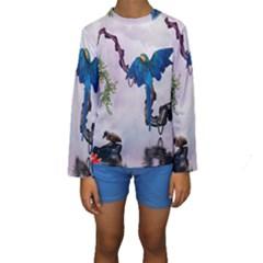 Wonderful Blue Parrot In A Fantasy World Kids  Long Sleeve Swimwear