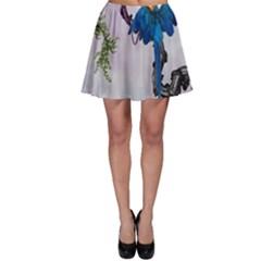 Wonderful Blue Parrot In A Fantasy World Skater Skirt