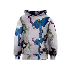 Wonderful Blue Parrot In A Fantasy World Kids  Pullover Hoodie