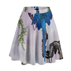 Wonderful Blue Parrot In A Fantasy World High Waist Skirt