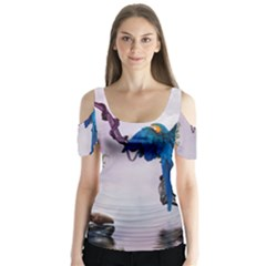 Wonderful Blue Parrot In A Fantasy World Butterfly Sleeve Cutout Tee