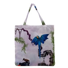 Wonderful Blue Parrot In A Fantasy World Grocery Tote Bag