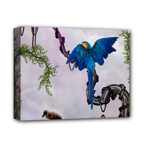 Wonderful Blue Parrot In A Fantasy World Deluxe Canvas 14  x 11
