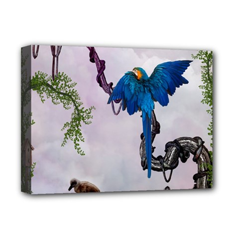 Wonderful Blue Parrot In A Fantasy World Deluxe Canvas 16  x 12