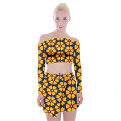 Yellow Flowers Pattern            Off Shoulder Top With Skirt Set