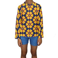 Yellow flowers pattern          Kid s Long Sleeve Swimwear