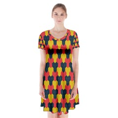Red blue yellow shapes pattern            Short Sleeve V-neck Flare Dress