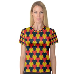 Red Blue Yellow Shapes Pattern        Women s V Neck Sport Mesh Tee