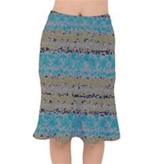 Blue Brown Waves           Short Mermaid Skirt