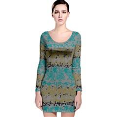 Blue brown waves       Long Sleeve Velvet Bodycon Dress