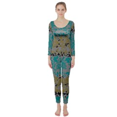 Blue brown waves        Long Sleeve Catsuit
