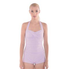 Solid Alice Pink in an English Country Garden Boyleg Halter Swimsuit