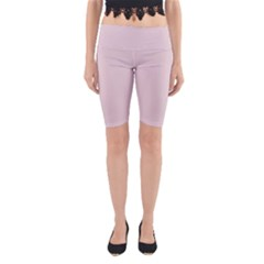 Solid Alice Pink in an English Country Garden Yoga Cropped Leggings