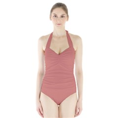 Camellia Pink in an English Country Garden Halter Swimsuit