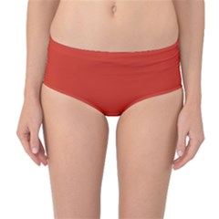 Dahlia Red in an English Country Garden Mid-Waist Bikini Bottoms