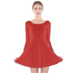 Dahlia Red In An English Country Garden Long Sleeve Velvet Skater Dress
